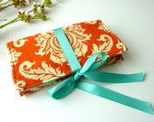 Orange Damask Jewelry Storage Case. Fabric Jewelry Roll. Aqua and Orange Wedding. Design Your Own. Bridesmaid Gift. Peronalized Gift for Her