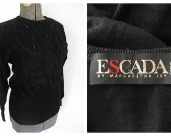 Escada Black Beaded Sweater Designer Oversized Pullover Knit Top