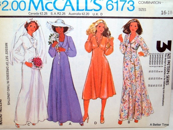 McCalls Dress Wedding Pattern Misses 1970s 6173 By RetroRecycle