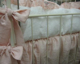 Washed Linen Nursery Bedding-Soft Pink and Vintage White-Baby Girl Crib Bedding Classics
