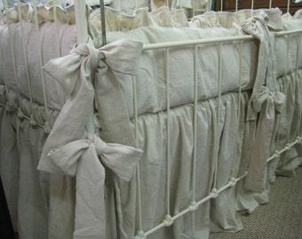 Classic Ruffled Crib Bedding-Natural Washed Cotton----Crib Linens Made with Washed Natural Cotton---Ruffled Bumpers-Storybook Crib Skirt