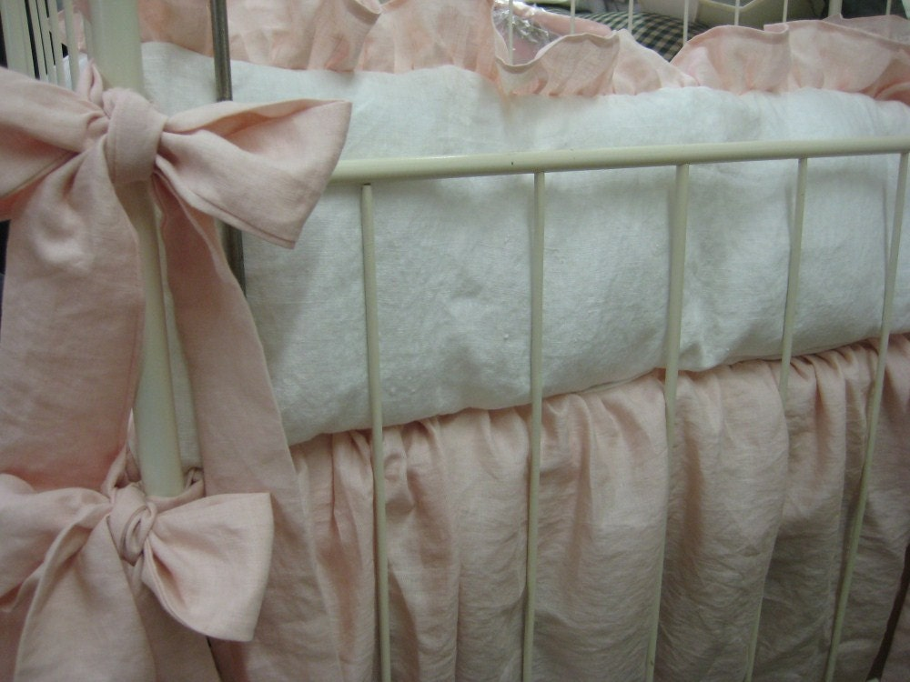Washed Linen Nursery Bedding-Soft Pink And Vintage White-Baby