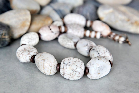 Dragon's Egg - Creamy White Magensite and Bronze Necklace
