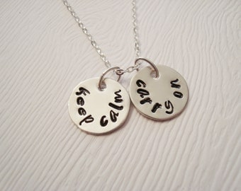 Keep Calm and Carry On Stamped Sterling Silver Necklace