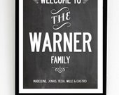 Personalized Welcome, family name poster. Large size A2.