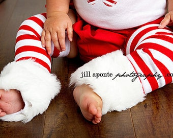 NEWBORN Christmas winter red and white stripes leg warmers w/attached white faux fur for added cuteness