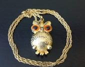 Vintage Gold Tone Owl Necklace Sachet Locket