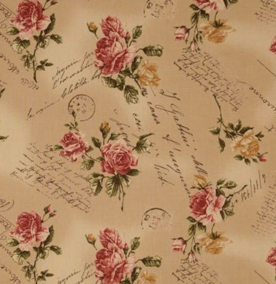 Antique Rose 2 yards fabric yellow dark beige background with letters , japanese import fabric