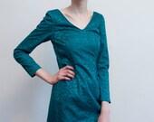 teal lace dress / bodycon mini dress / XS