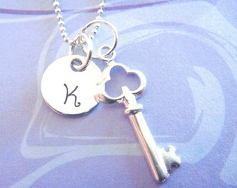 Hand Stamped Jewelry - Key Necklace - Sterling Silver