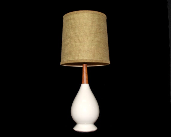 Danish Modern Pottery Lamp with Burlap Shade .  Smaller Size