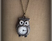 Owl Shaped Pocketwatch Necklace, Owl Woodland Jewelry, Long Sweater Jewelry