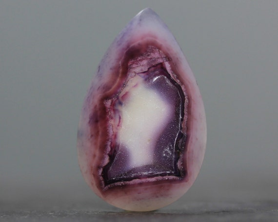Purple Druzy Chalcedony, Sparkling Teardrop, Flat Back, Bezel Edge Geode Cabachon - 37mm (3115)
