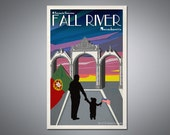 "Retro styled Fall River, MA Travel Poster- ""Portuguese Gates"""