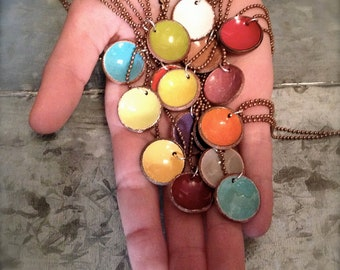 Penny Candy - Upcycled Enameled Penny Necklace - Recycled - Copper - Coin - Lucky Penny