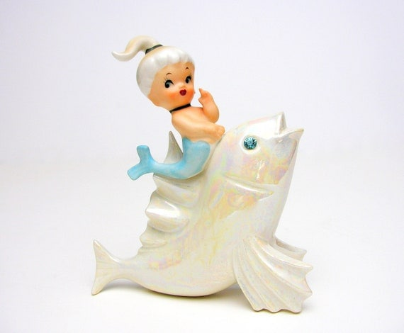 Mermaid Riding Fish Wall Plaque Lefton Norcrest Porcelain Blue Rhinestone Vintage Kitsch Beach Cottage Figurine