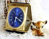 Vintage Travel Clock. Cobalt Blue. Linden. Germany
