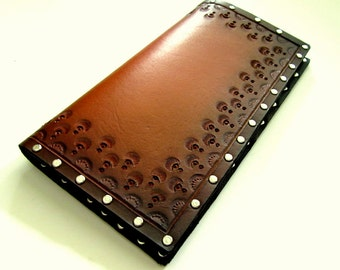 Mens Leather Wallet Tooled Brown Leather Wallet with Rivets Unique Wallet Mens Wallet Custom Wallet Third Anniversary Mens Billfold