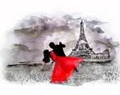 Eiffel Tower Paris Woman Man Dancing Painting Limited Edition Fine Art Print  by V.Ann 13 x 19 Red Dress Rose - vannoriginals