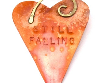 Still Falling Copper Heart Ornament - Home Decor