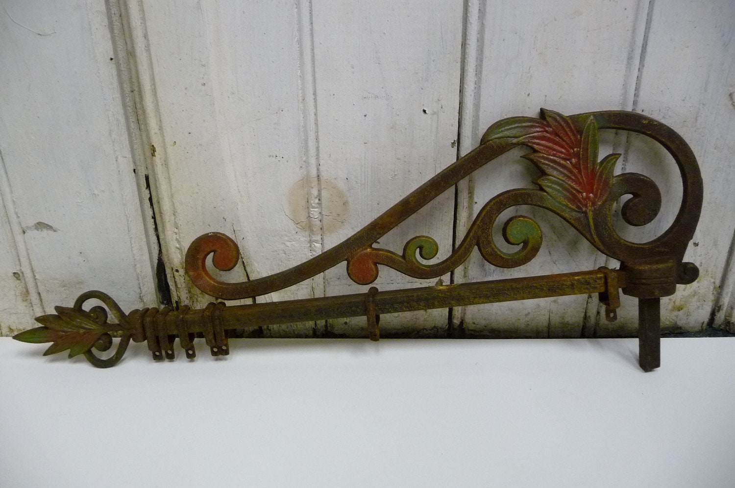 Vintage Sign Post Bracket Art Nouveau Victorian Iron Hanger