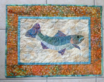 Trout fish Quilt Wall hanging Hand appliqued and hand quilted