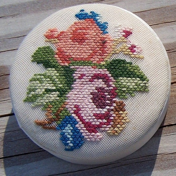 Antique Floral Handmade Cross Stitch Trinket Box with Floral Embroidery
