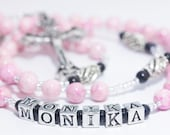 Personalized Rosary in Pink & Black