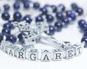 Personalized Confirmation Rosary in navy blue & white