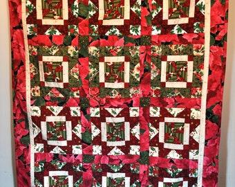 Christmas Quilt Skylight Stars pattern lap throw quilt 41 x 53 OOAK