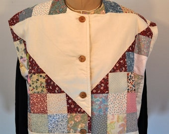 Quilted Boho vest from vintage pieced Flying geese top LARGE