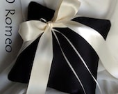 Gabriella Ring Bearer Pillow in Black and Ivory  - Pick Your Own Color