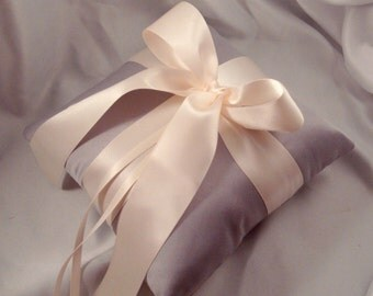 Gabriella Ring Bearer Pillow - Pick Your Own Color - Shown in Gray and Ivory.