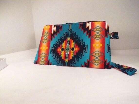 Native American print wristlet clutch