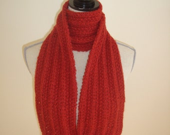 red baby alpaca scarf hand knit