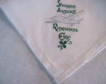 Rineanna Eire - set of 6 vintage SHANNON AIRPORT Irish Linen Cloth Napkins with Embroidered Airplane