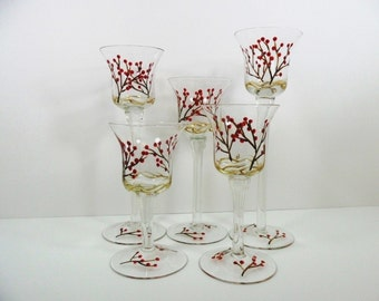 Candle Tea Light Votive Holders Red Berries Hand Painted Set of 5