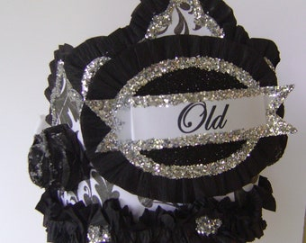 over the hill Birthday hat, over the hill birthday crown, adult Birthday Party Hat, black party hat, customize