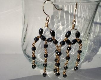 Graphite beaded wire earrings