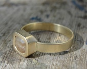 Gold Engagement Ring - Diamond Ring - Solitaire Ring - Rose Cut Diamond and Gold Ring