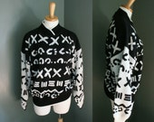 Black and White - Vintage 80s X MARKS the SPOT Sweater - Women L