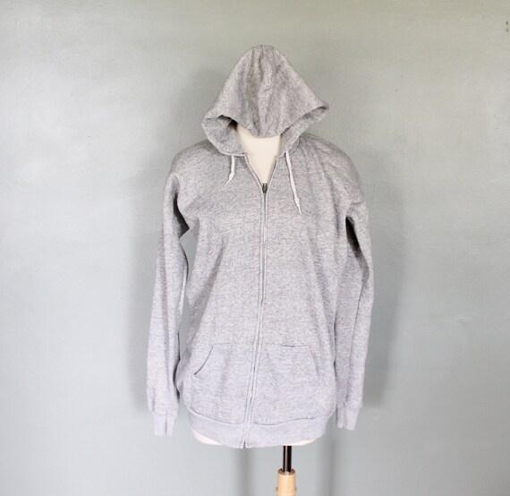 Vintage 80s GRAY Hoodie Sweatshirt - Men Medium Women Large