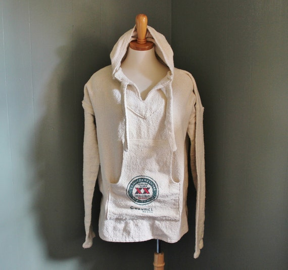 Vintage SURFER Poncho Hoodie - Women Men XL - Early 90s Dos Equis Beer