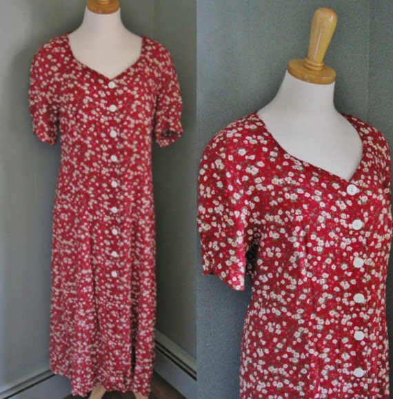 20 Dollar Sale - Vintage MY so CALLED Dress Red Floral with Corset Back - Women M L  - Early 90s