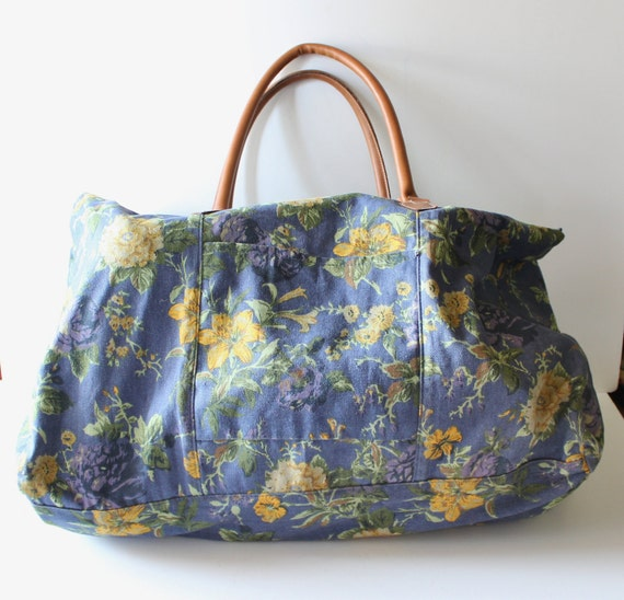 Vintage 90s Floral Duffel Bag - Blue and Yellow - Gym Bag