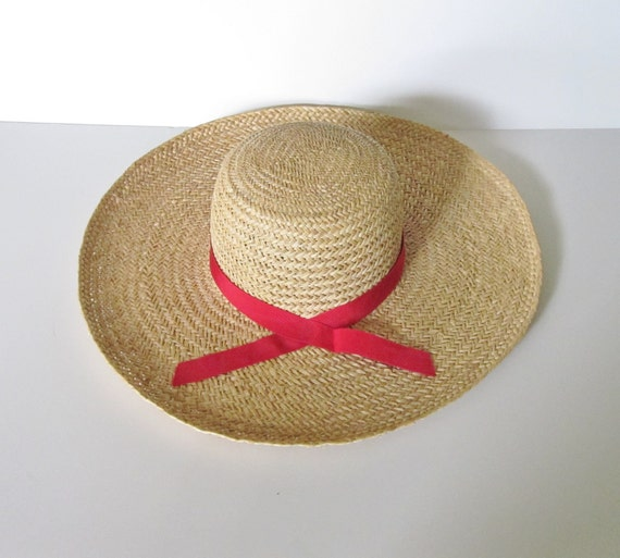 20 Dollar Sale - Vintage COUNTRY GARDEN Tan Straw Hat - Red Ribbon