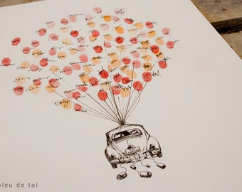 Volkswagen Love Bug Fingerprint Balloon, Original Guest book thumbprint balloon (inks available separately)