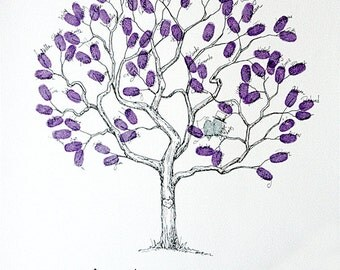 Wedding Guest Book Alternative, Fingerprint tree, Small Jacaranda Tree, Original Wedding Guest Book, thumbprint tree, Rustic Wedding
