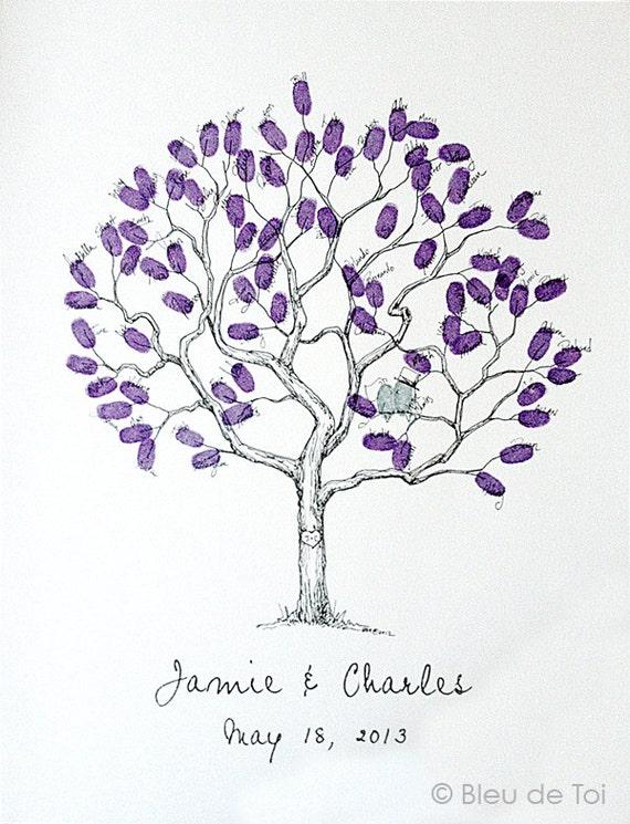 Wedding guest book alternative fingerprint tree small gumiabroncs Images
