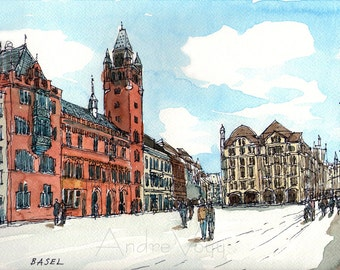 Basel Switzerland art print from an original watercolor painting
